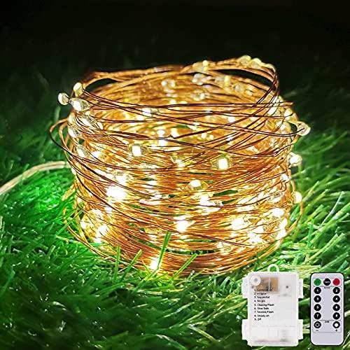 Cestamor Guirnalda Luces Pilas, 15m 150 LED Cadena de Luces 8 Modos Impermeable Interior Exterior,Luces Decorativas...