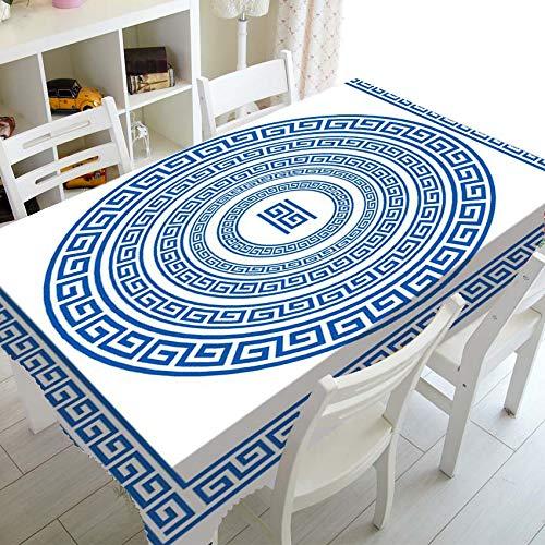 XXDD Schwarz Weiß Griechisch Schlüssel Tischdecke Tischdecke für Dekor Elegante Mäander Grenze Rechteck Quadratische Tischdecke A3 140x160cm