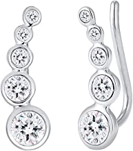 Elli Women Earrings Earcuff Circle Geo Swarovski® Crystals 925 Sterling Silver Rose Gold Plated