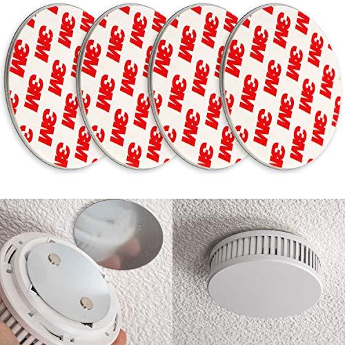 Rauchmelder Magnethalter, 4er Pack, Ø 70 mm, Selbstklebend, 3M Pads, Magnethalterung zur einfachen Befestigung ohne Bohren und Schrauben, für alle Feuermelder und Rauchwarnmelder, Rauchmelder Klebepad