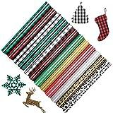 12Sheets Christmas Buffalo Plaid Iron-on Transfers Vinyl Craft Bundle Leopard Pattern HTV Vinyl PU Glitter Heat Transfer Vinyl Adhesive Iron-on Vinyl Clothing Patches Sheets for T-Shirt Hat Bag Pillow