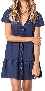 Women's V-Neck Flare Sleeve Dress Button Sundress Maxi Boho Casual Mini Dress