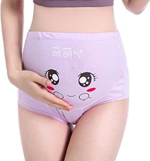 Breathable High Waist, Stomach Lift, Adjustable Cute Cartoon Pregnancy Stomach Lift Pregnant Women's Underwear. (Color : Pink, Size : M)