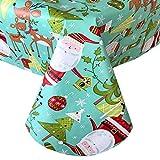 Newbridge Jingle Bells Santa Claus Fun Christmas Print Vinyl Flannel Backed Tablecloth, Whimsical...