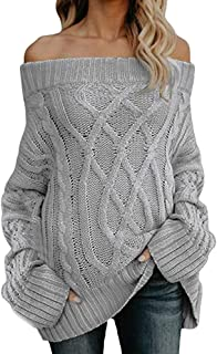 Knited Sweater,Women's Sexy Long Sleeve Off Shoulder Loose Cable Knit Pullover Knitwear by-NEONESUN