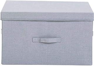 SMEJS Boîte de Rangement avec Couvercle Panier de Rangement for vêtements en Toile de Lin Pliable - Gris (Color : C, Size ...