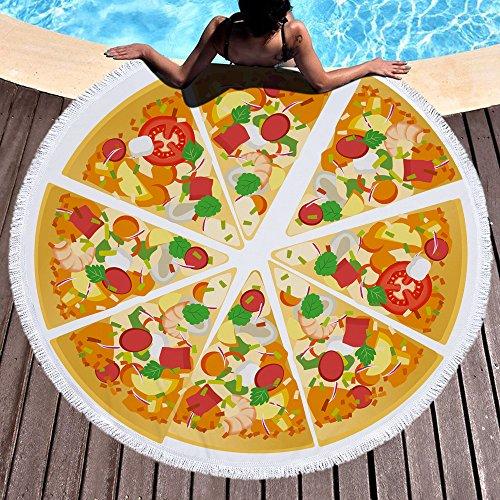 Pizza Toalla de playa grande redondo microfibra toalla de playa hippie boho playa manta Picnic pared Alfombra para yoga (150cm 3