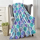 Colla Mermaid Tail Scales Fish Scale Pattern Throw Blankets for Kids Youth, Lightweight Soft & Cozy Flannel Throw Blankets for Bed Sofa Chair Couch Travel 60'x50'