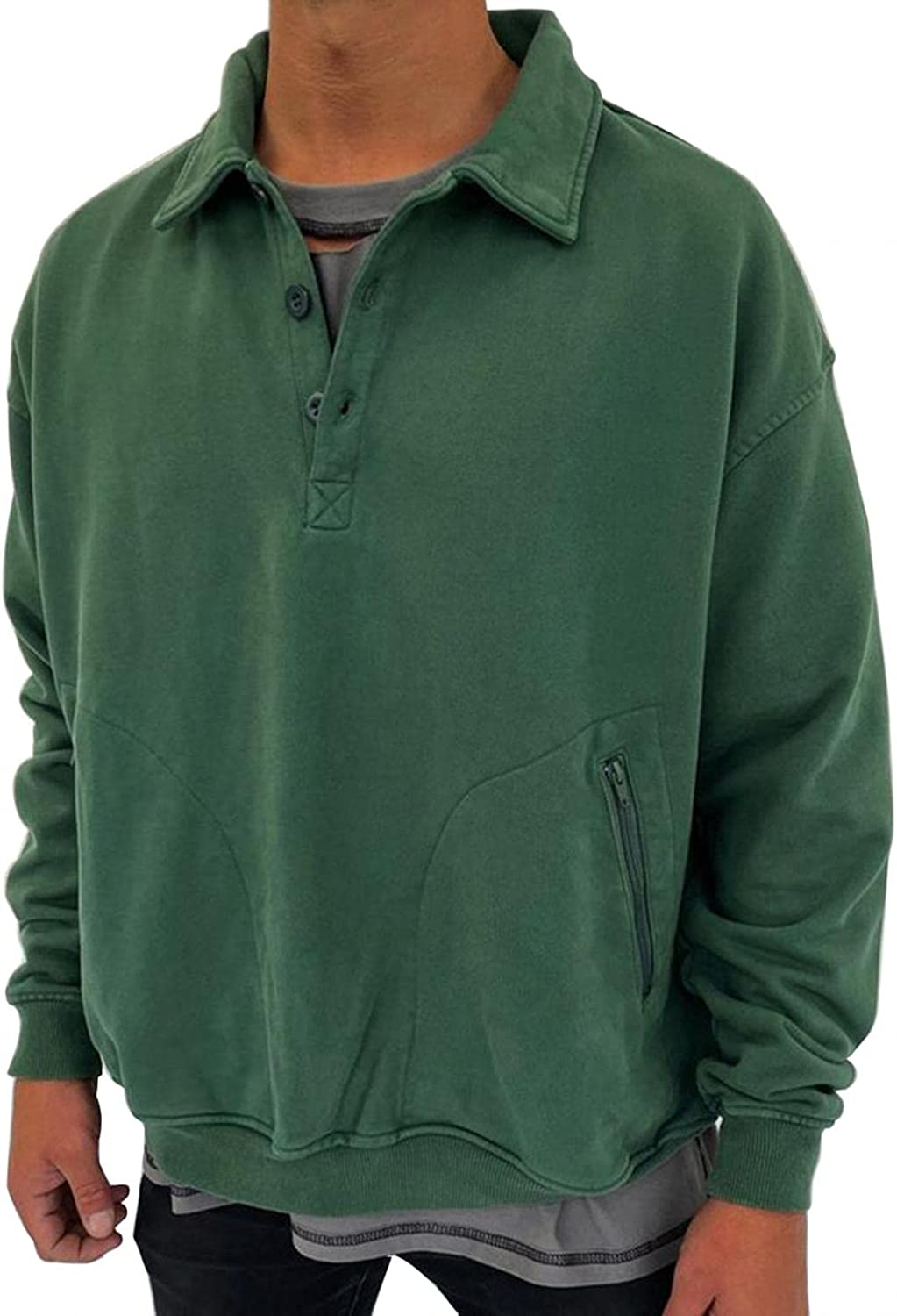 XUNFUN Men's Sweatshirts Casual Loose Fit Stand Collar Quarter Button Solid Color Pullover Tops Blouse with Pockets