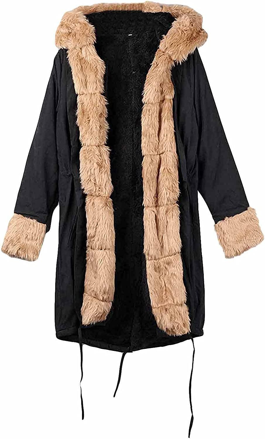 Women's Winter Hooded Lined Down Coat Thickened Cardigan Jacket With Pockets Faux Fur Warm Jacket Mid-Long Overcoat