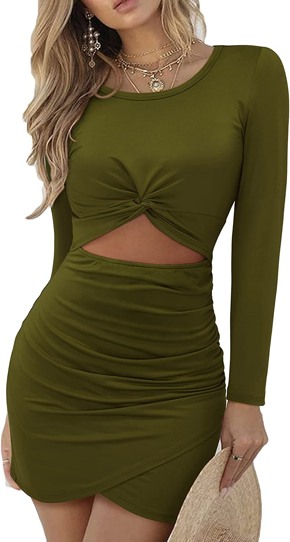 LAISHEN Women's Twist Front Knot Crewneck Bodycon Dress Long Sleeve Mini Hollow Out Ruched Wrap Dresses