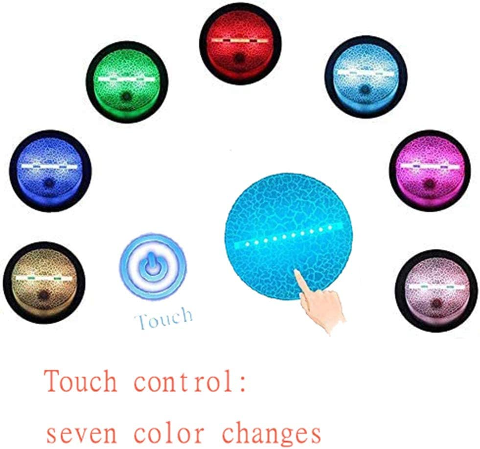 3D Optical Illusion LED Nightlight Bedside Lamp Smart Touch 7 Colors Dimmable Home Decoration for Kids Gift Musical Note Night Light B