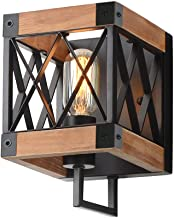 Eumyviv 1-Light Rustic Wood Wall Lamp with Mesh Cage Industrial Wall Sconce, Retro Bathroom Lamp Log Cabin Home Vintage Ed...