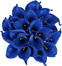 JUSTOYOU 20pcs Artificial Calla Lily Real Touch Flower for Bride Wedding Home(Blue)