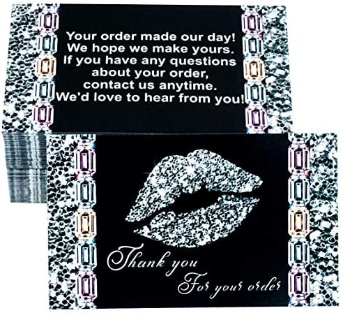 RXBC2011 100 Thank You for Your Purchase Cards lip kiss Diamond Package Insert for online Jewelry product image