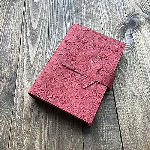 feiren Cuaderno A5 de piel retro hecho a mano, 3D, con relieve, decoración de viaje, diario, oficina, creativo, cuaderno de notas de estudiante (color: rosa, tamaño: 220 mm x 150 mm x 4 mm)