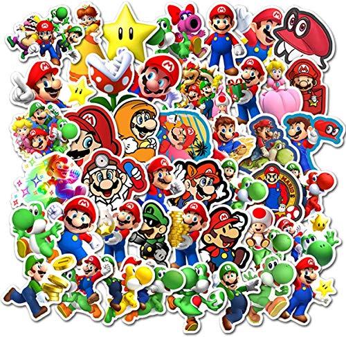 Super Mario Bros Pegatinas para botellas de agua paquete de 100 stickers lindas, impermeables, estéticas, modernas para adolescentes, niñas, perfectas para botellas de agua, portátil, teléfono