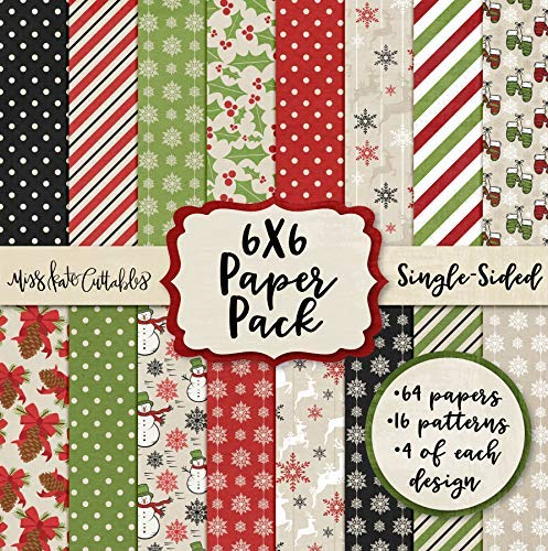 6X6 Pattern Paper Pack - Merry & Bright - Christmas - Card Making Scrapbook Card Stock Single-Sided 6'x6' Collection Includes 64 Sheets - by Miss Kate Cuttables