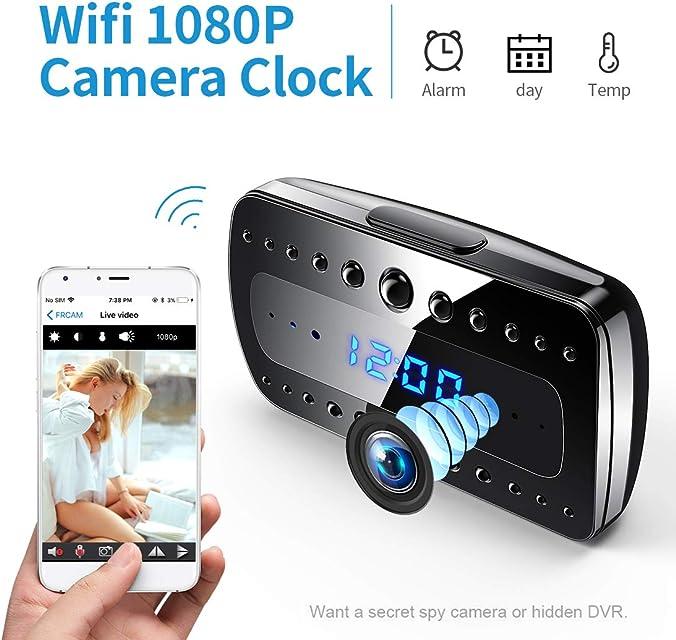 Cámara espía FREDI 1080P HD WiFi Cámara Oculta Despertador Mini cámara espía Cámaras de vigilancia Seguridad domésticas inalámbricas Alarma/Visión Nocturna/Detección de Movimiento