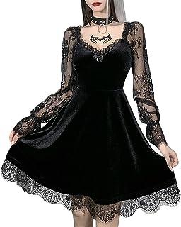 Women Gothic Dress Halloween Lace Mini Long Sleeve Dress Grunge Velvet Harajuku Vintage Punk Clothes Summer Goth Dress
