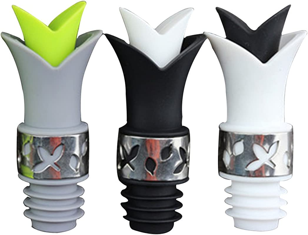 Pawkyjar Silicone Wine Pourer Bottle Stopper 2 In 1 White Black Gray Set Of 3