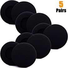 CoWalkers 5 Pairs 2 Inch(50 mm) Quality Replacement Foam Pad Earpad Cover Cushion for Sennheiser PX100 Sony MDR-G57 Headphones(Black)