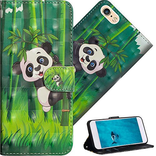 COTDINFOR pour iPhone 6S Plus Custodia Cover TPU 3D Effect Painted PU in Pelle con Wallet Card Holder Flip Custodia per iPhone 6 Plus / 6S Plus Climbing Bamboo Panda YX.