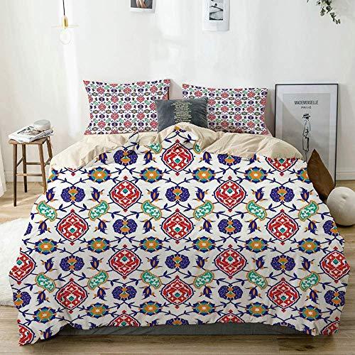 Juego de funda nórdica beige, clásico otomano, marroquí, antiguo, turco, mosaico, azulejos, ilustraciones de cerámica, juego de cama decorativo de 3 piezas con 2 fundas de almohada, fácil cuidado, ant