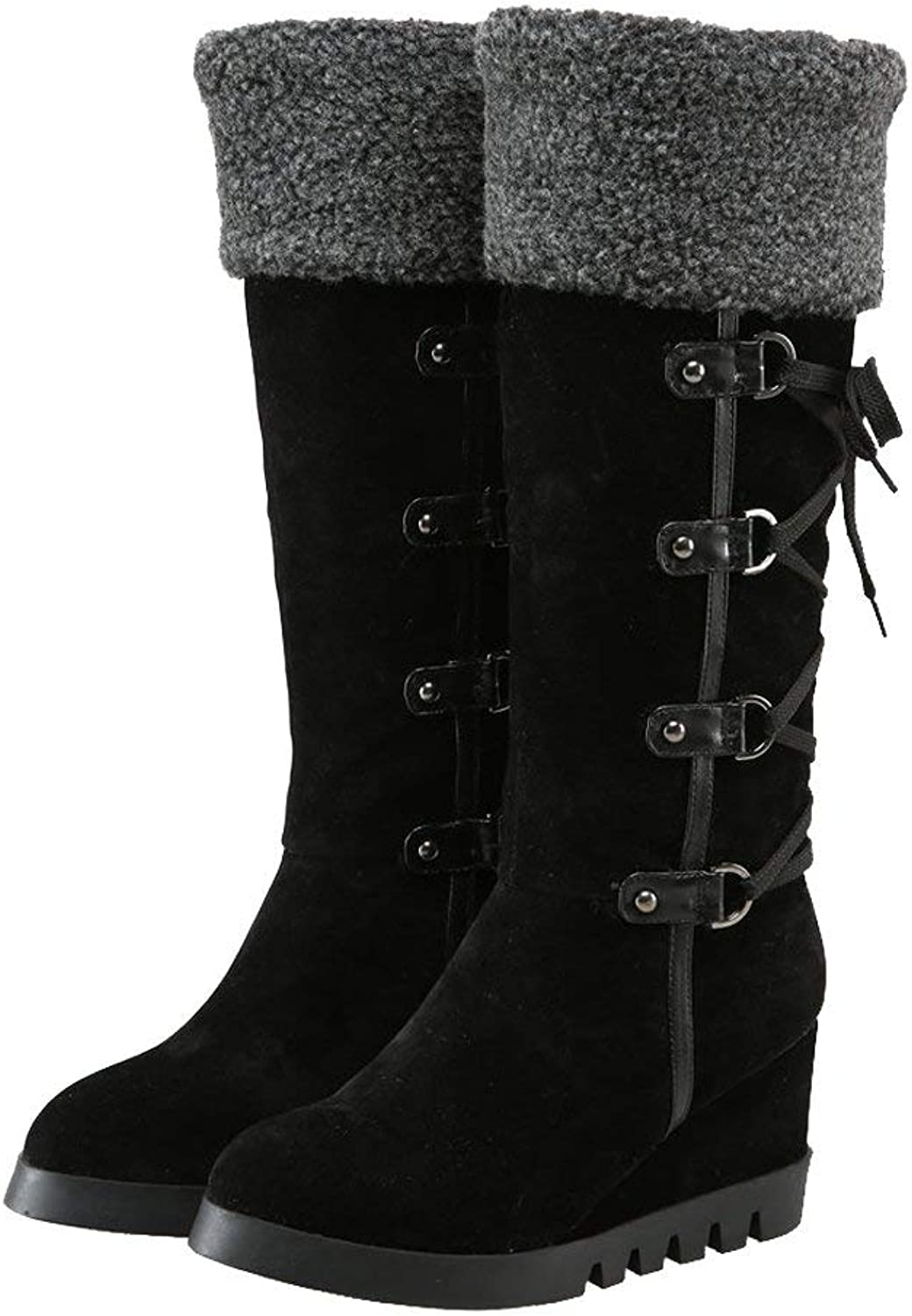 Ghapwe Women's Faux Fur Knee High Wedges Winter Snow Boots Black 7 M US