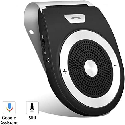 Bluetooth Hands Free Car Kit Auto Power On Support Siri & Google Assistant Wireless in Car Speakerphone Bluetooth 4.1 Receiver Speaker for Hands-Free Talking & Music Streaming Connect Two Phones