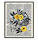 Original Floral Skull Dictionary Wall Art Photo - 8x10 Vintage Picture for Medical Clinic, Dr Office - Shabby Chic Gift for Doctor, Nurse, Med Student, PA - Home Decoration, Room Decor Poster Print