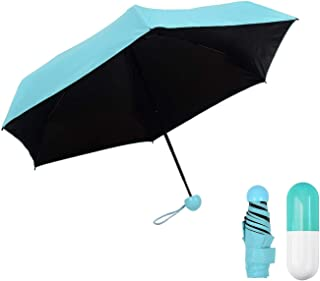 Pocket Umbrella Ultra Light Mini Umbrella 5 Folding Compact Umbrella with Lovely Capsule Case Pocket Umbrella Blue