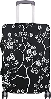 Mydaily Cherry Blossoms Floral Black Luggage Cover Fits 28-29 Inch Suitcase Spandex Travel Protector L