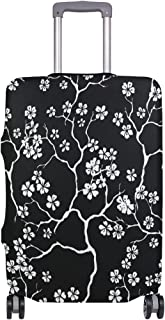 Mydaily Cherry Blossoms Floral Black Luggage Cover Fits 22-24 Inch Suitcase Spandex Travel Protector M