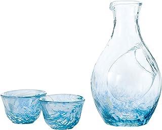 東洋佐々木ガラス 冷酒グラス セット 日本製 ブルー カラフェ 300ml グラス 55ml 3点セット G604-M70