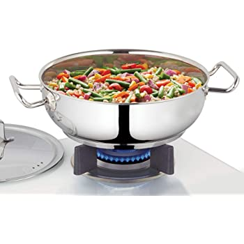 Borosil - Stainless Steel Flat Kadhai with lid, Impact Bonded Tri-Ply Bottom, 2.8 L, Silver