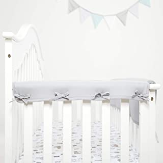 TILLYOU 2-Pack Padded Baby Crib Rail Cover Protector Safe Teething Guard Wrap for Narrow Side Crib Rails(Measuring Up to 8