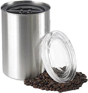 Planetary Design Airscape Coffee and Food Storage Canister - Patented Airtight Lid Preserve Food Freshness with Two Way CO2 Valve, Stainless Steel Food Container, Brushed Steel, Medium 7-Inch Can