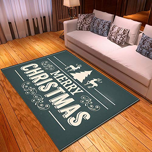 CARPETXYX Große 3D Helle Antislip Rechteck Teppich Soft-Flanell Waschbar Wohnzimmer Schaumteppich Thin Bodenmatte Weihnachten Home Dekorationen,C,122X183CM