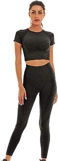 Toplook Women Seamless Workout Outfits Yoga 2 Piece Set Legging Short Sleeve Top