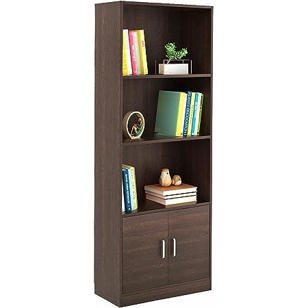 BLUEWUD Seonn Engineered Wood Bookshelf with 2 Doors Storage Cabinet (Wenge Finish)