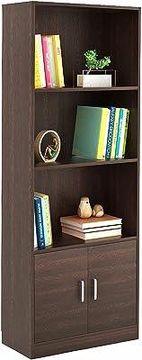 BLUEWUD Engineered Wood Bookshelf with 2 Door Cabinet ,Matte Finish,Set Of 12,Wenge