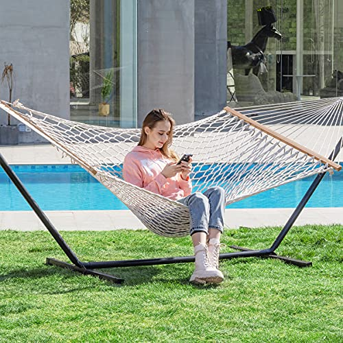 PNAEUT Max 475lbs Capacity Double Hammock with Stand 2 Person Heavy Duty Traditional 2 People Rope...