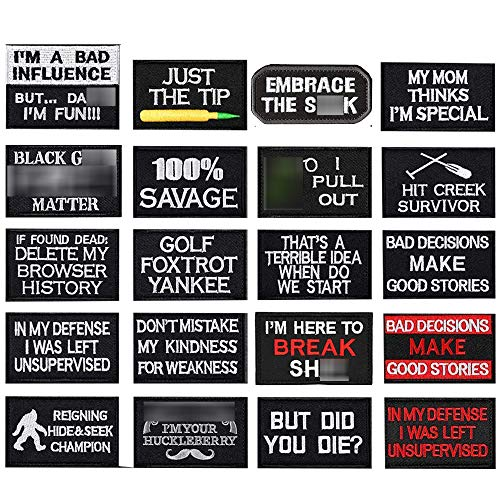 20 Pieces Velcro Tactical Morale Embroidery Patches, Military Funny Patch Full Embroidered Appliques for Tactical Gear