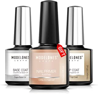 Modelones Gel Nail Polish 3Pcs 0.33 Oz Primer No Wipe Top and Base Coat Set,Non-acid Nail Primer,Shiny and Long-Lasting UV/LED Soak Off Gel Polish