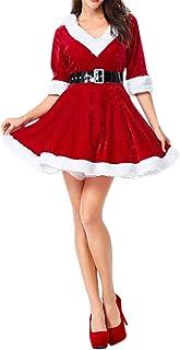 f4e6a3fe883 semen Mère de Noël Femme Mini Robe en Coton avec Ceinture Déguisement  Costume Soirée (Étiquette