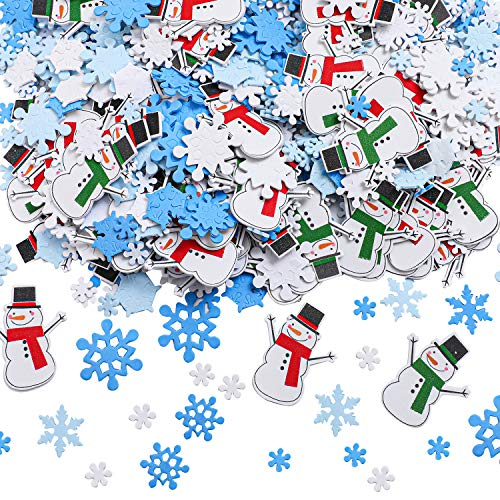 Aneco 800 Pieces Foam Snowflakes Stickers Self-Adhesive Snowman Stickers Decals for Christmas Winter Decoration