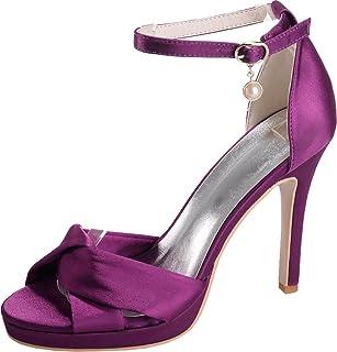 Vimedea Womens Stiletto Sandals Ankle Straps Platform Heeled Wedding Bride Party Dress Open Toe Satin NX5915-17