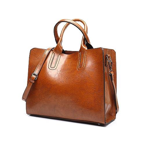 VANCOO New Trendy Womens Tote Bags Ladies Handbags Shoulder Bag for Women  Oil Wax Leather ( 2fc7feaea4311