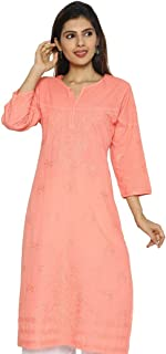 Ladies Chikan Hand Embroidery Cotton Kurta in Mukaish/Badla Work